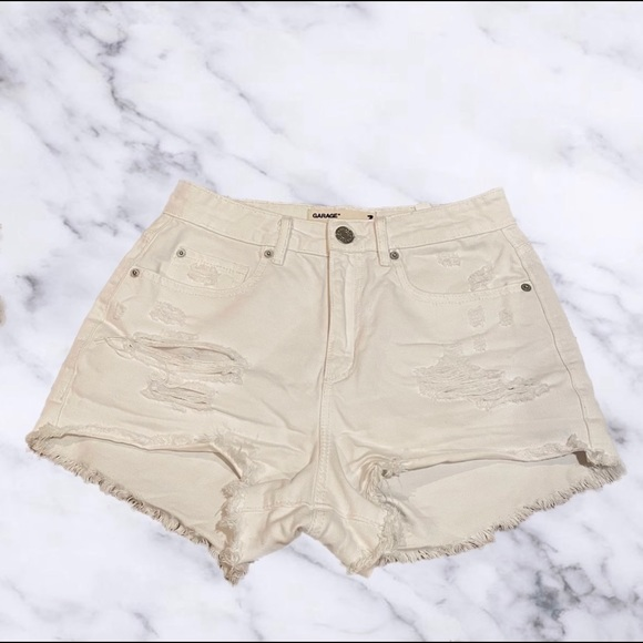 Garage White Distressed Denim Shorts